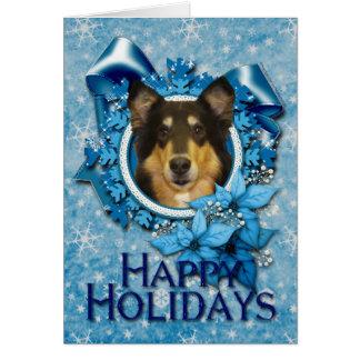 クリスマス-青い雪片-コリー-キャロライン カード