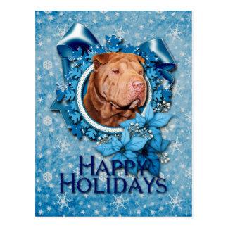 クリスマス-青い雪片-幸運なShar Pei - ポストカード