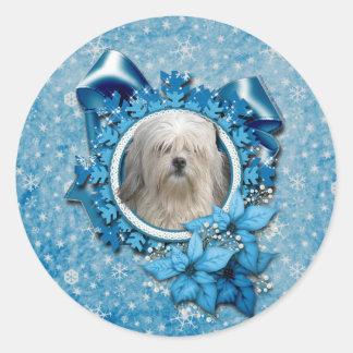 クリスマス-青い雪片- Lowchen ラウンドシール