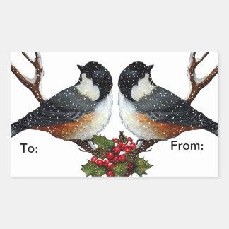 クリスマス: 鳥: 《鳥》アメリカゴガラ: ギフトのラベル 長方形シール