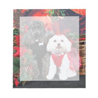 クリスマス- Amicheのプードル- Tinkerbellのマルチーズ ノートパッド