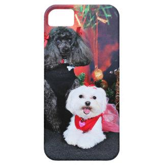 クリスマス- Amicheのプードル- Tinkerbellのマルチーズ iPhone SE/5/5s ケース