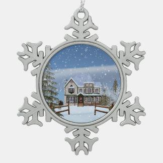 クリスマス、Snowyの冬場面の家 スノーフレークピューターオーナメント
