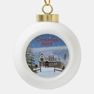 クリスマス、Snowyの冬場面、取り外し可能な2014年 セラミックボールオーナメント