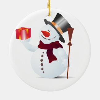 クリスマス/X-masのためのSchneemann/雪だるま セラミックオーナメント
