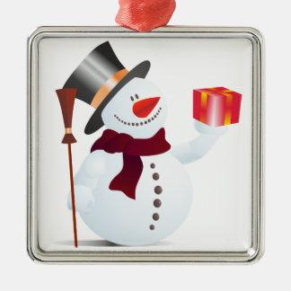 クリスマス/X-masのためのSchneemann/雪だるま メタルオーナメント