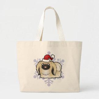 クリスマスPekingese (切られるショー) ラージトートバッグ