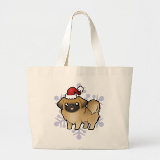 クリスマスPekingese (切られる子犬) ラージトートバッグ