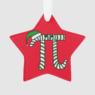 クリスマスPiのかわいい緑の数学のオーナメント(赤の背部) オーナメント