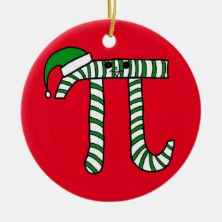 クリスマスPiのかわいい緑の数学のオーナメント(赤の背部) セラミックオーナメント