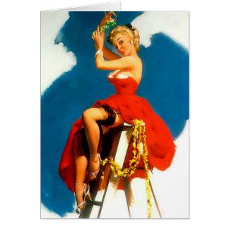 クリスマスPinの女の子のミサイルのつま先 カード