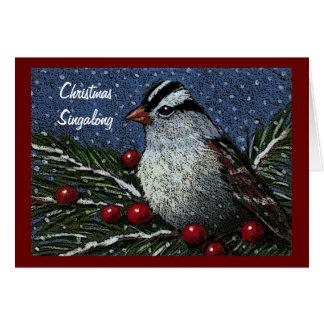 クリスマスSingalongのキャロル: 鳥、果実、雪 グリーティングカード