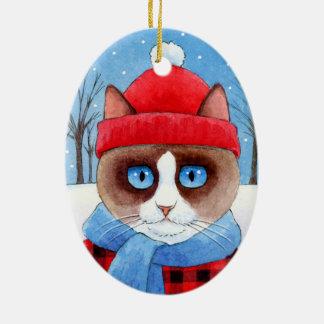 クリスマスSnowshowかRagdoll猫のオーナメント セラミックオーナメント