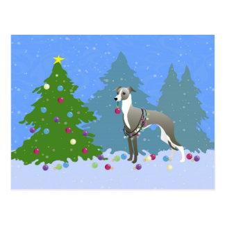 クリスマスTreを飾っているイタリアン・グレーハウンドWhippet ポストカード