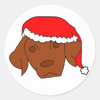 クリスマスVizsla ラウンドシール