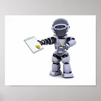 クリップボードポスターが付いているロボット ポスター