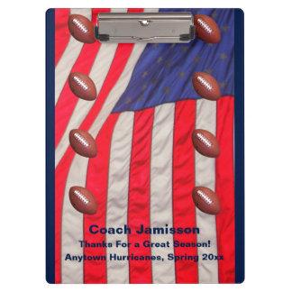 クリップボード、米国旗、フットボールのコーチ クリップボード
