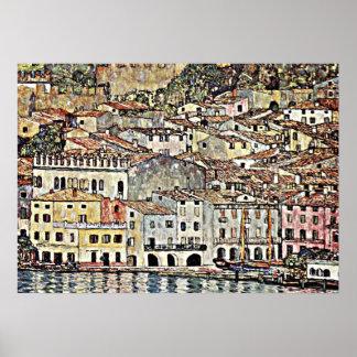 クリムト-湖GardaのMalcesine ポスター
