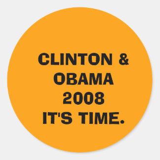 クリントン及びオバマ2008ITは時間です ラウンドシール