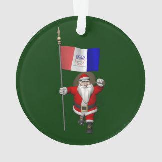 クリーブランドの旗を持つサンタクロース オーナメント
