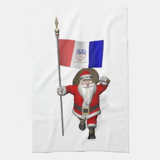 クリーブランドの旗を持つサンタクロース キッチンタオル