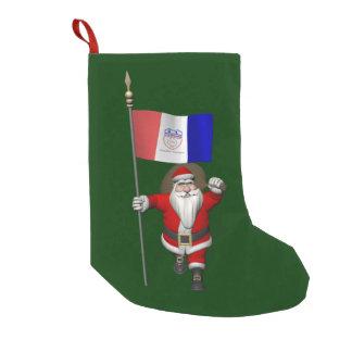 クリーブランドの旗を持つサンタクロース スモールクリスマスストッキング
