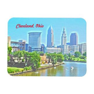 クリーブランドオハイオ川の眺め(ペンキの効果)の磁石 マグネット