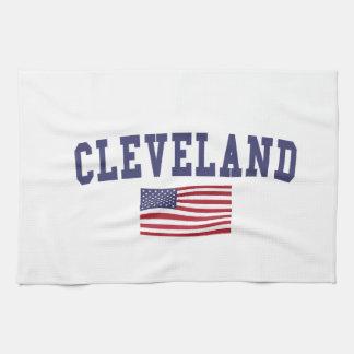 クリーブランドオハイオ州米国の旗 キッチンタオル