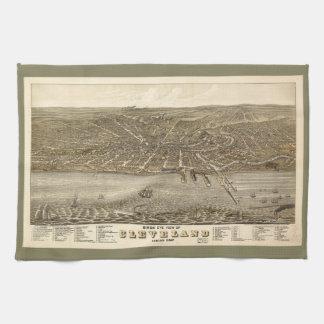 クリーブランドオハイオ州(1877年)の鳥目眺めの地図 キッチンタオル