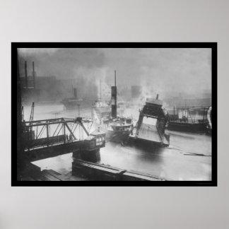 クリーブランド1913年の橋を破壊する洪水 ポスター