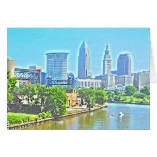 クリーブランド、オハイオ川の眺めの挨拶状 グリーティングカード