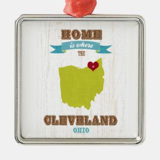 クリーブランド、オハイオ州の地図-ハートがあるところでがあります家 メタルオーナメント