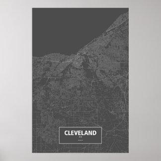 クリーブランド、オハイオ州(黒で白い) ポスター