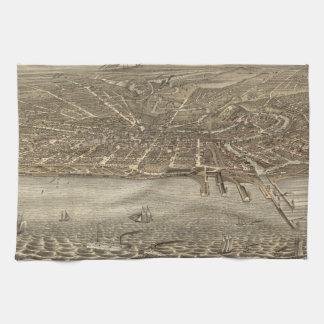 クリーブランド(1877年)のヴィンテージの絵解き地図 キッチンタオル