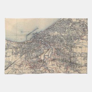 クリーブランド(1904年)のヴィンテージの地図 キッチンタオル