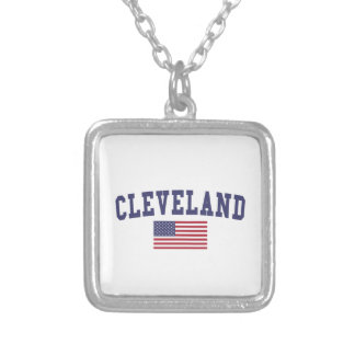 クリーブランドTN米国の旗 シルバープレートネックレス