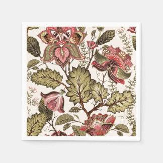 クリーミーな背景の素朴なヴィンテージのペイズリーの花 スタンダードカクテルナプキン