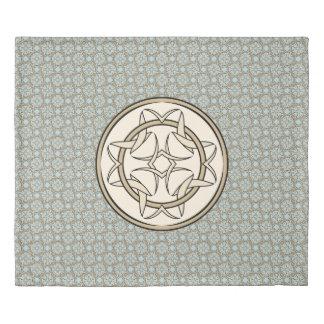 クリームおよび黒のケルト結び目模様の写実的なパターン 掛け布団カバー
