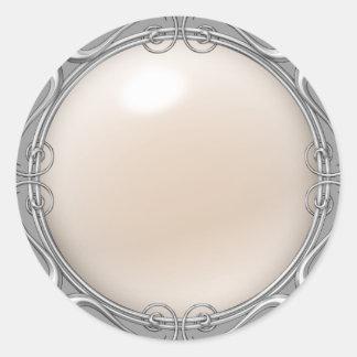 クリームによって宝石で飾られる真珠のステッカー ラウンドシール