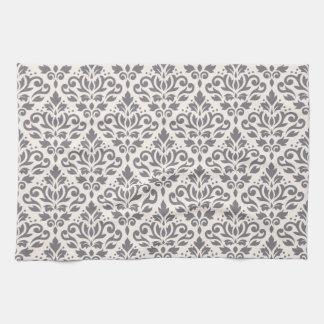 クリームのスクロールダマスク織の繰り返しパターン灰色 キッチンタオル