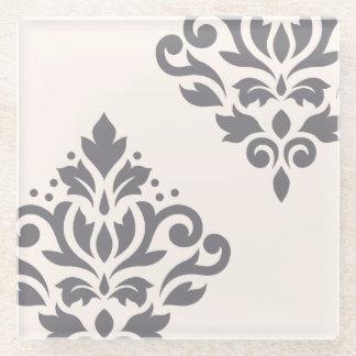 クリームのスクロールダマスク織の芸術Iの灰色 ガラスコースター