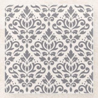 クリームのスクロールダマスク織パターン灰色 ガラスコースター