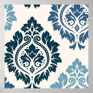 クリームの装飾的なダマスク織の芸術Iの青 ポスター