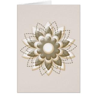 クリーム色およびカーキ色の頭状花 カード