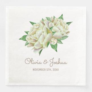 クリーム色のシャクヤクの水彩画の花の結婚式