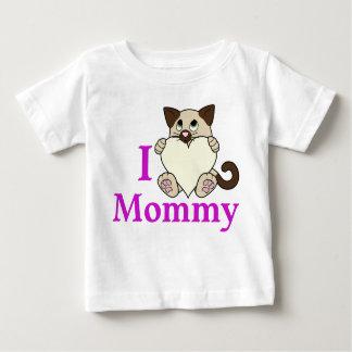 クリーム色のハートのバレンタインデーのシャム猫 ベビーTシャツ