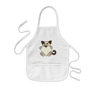 クリーム色のハートのバレンタインデーのシャム猫 子供用エプロン