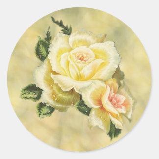 クリーム色のバラの封筒用シール ラウンドシール