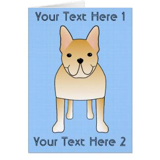クリーム色のフレンチ・ブルドッグ。 犬の漫画 カード