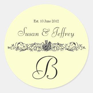 クリーム色のモノグラムのロゴは日付の結婚式のラベルを示します ラウンドシール